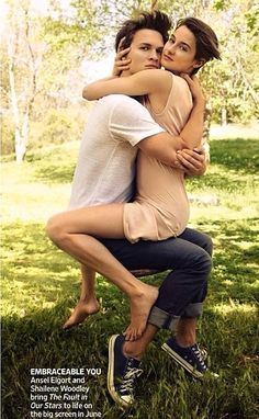 """Ansel Elgort and Shailene Woodley photographed by Peggy Sirota in a photo shoot called """"The Fault in our Stars"""" for """"Entertainment Weekly"""" magazine may Hazel Y Augustus, Augustus Waters, Ansel Elgort, Shailene Woodley, Hazel Grace, Entertainment Weekly, Movie Couples, Cute Couples, John Green Books"""