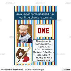 blue baseball first birthday photo invitation