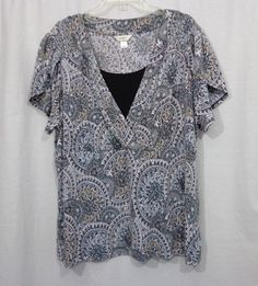 Womens Plus CATO Colorful Floral V Neck Empire Waist Smocked Blouse Top, Size 2X #Cato #Blouse #Casual