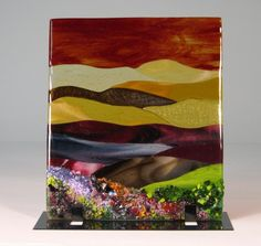 Fused Glass flower meadow and mountains panel   sroston - on ArtFire