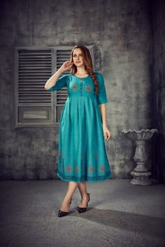 Women's Blue Colored Rayon 2 Tone Pleated Kurti With Foil - gnp007246 | Visit : www.grabandpack.com | TO BUY THIS BEAUTIFUL OUTFIT CONTACT US / WHATS APP US ON : +91 9898133588 || EMAIL US AT grabandpack@gmail.com || you can visit on www.grabandpack.com | #style #chennai #cotton  #sareeinspiration #sareesonline #bridalsarees #pet #sareeseduction  #saree2020 #2020trending #kurti #chex #sleeveless #walkway #pleated #indowestern #kurti #straight #charming #bluehills #pearl #handwork #foilprint Stylish Kurtis, Sarees Online, Half Sleeves, Beautiful Outfits, Summer Dresses, Walkway, Chennai, Fabric, How To Wear