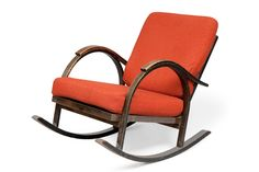 MAIJA HEIKINHEIMO, ROCKING CHAIR. Stained birch frame, loose cushions in red. Designed for Asko, 1932.