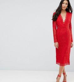 5a4746482d2 ASOS Tall ASOS TALL Long Sleeve Lace Midi Pencil Dress Red Midi Dress