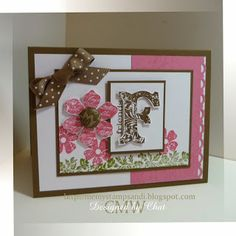 Me, My Stamps and I: F for Friends - Stamps: Vintage Vogue. Paper: Regal Rose, Soft Suede & Whisper White. Ink: Regal Rose, Soft Suede & Old Olive. Accessories: polka dot ribbon, button. Tools: Scallop Trim Border punch & button