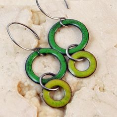 I'm Seeing Circles - Greens - Copper Enamel Earrings. $34.00, via Etsy.