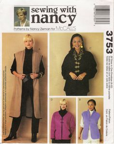 McCall's 3753  Misses' Unlined Vest and Jackets