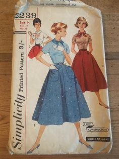50's Vintage 1957 Simplicity 2239 Sewing Pattern Junior's, Teen-Age Blouse and Skirt Size 14 Bust 34