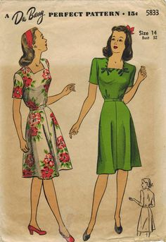 1940s Du Barry 5833 Vintage Sewing Pattern by midvalecottage, $14.00