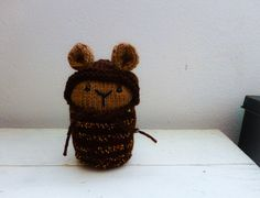 Knit bear, pookie, brown, cute, animal, doll, knit amigurumi, plush, small, ready to ship, handmade