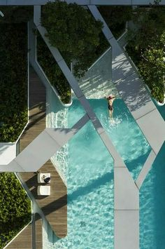 """cjwho: """"The Pool at Pyne by T. Aerial photographs reveal the angular geometries of this rooftop swimming pool in Bangkok by Thai landscape architects T. The swimming pool is positioned. Cool Swimming Pools, Swimming Pool Designs, Cool Pools, Awesome Pools, Architecture Design, Landscape Architecture, Canopy Architecture, Urban Landscape, Landscape Design"""