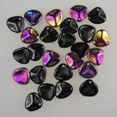 Czech glass rose petals in Jet Sliperit, 8mm x 7mm. Petal-shaped drop beads in part opaque black, part metallic copper, gold, fuchsia and purple. UK seller.