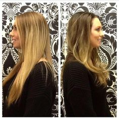 Back to back before and after transformation by Kristin. A fun and easy transition from light to dark! Long Hair Styles, Dark, Fun, Beauty, Long Hairstyle, Long Haircuts, Long Hair Cuts, Beauty Illustration, Long Hairstyles