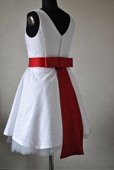 Marika, abito di cotone e tulle plumetis, cintura in raso, abito Favole di Seta Sartoria Torino