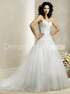 Awesome A-line Sweetheart Sleeveless Chapel Train Embroidery Wedding Dress