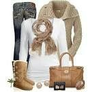 Coolest, white shirt, brown scarf, denim jeans, brown boots, brown bag, brown ring, black wallet, and brown earings