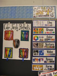 I love the 'color family portraits'. I could also get the students to make these for me to hand up in the classroom - do as a bellringer.