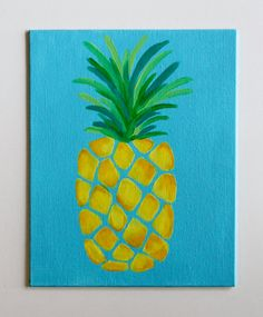 Handmade acrylic pineapple painting on 8x10 canvas board. Canvas is ready to be framed in your choice of 8x10 frame.