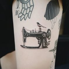 tattoodo | Sewing machine tattoo by Tattooist Banul #Banul #fashiontattoos #blackwork #fineline #detailedblackwork #small #sewingmachine #realistic #bird #sewing #craft #fashion #style #tattoooftheday | Tattoodo