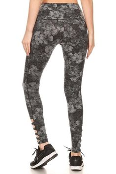 dd7586b9fb60a Floral pattern printed active tights with elastic waist, overlock stitching  detail, and cut out