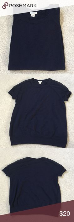 Adorable J.Crew navy Short sleeve top Excellent/ like new condition! No sign of wear! Comes from a smoke free- pet free home! J. Crew Tops