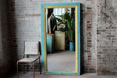 Check out Floor Mirror Antique Indian Architectural Elements Blue and Yellow Boho Global Indian Full Length Mirror Moroccan Mirror Mediterranean on hammerandhandimports