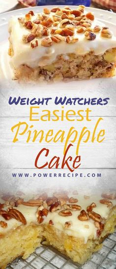 Easiest Pineapple Cake — You spread the cream cheese frosting over it while it's still hot, so the frosting melts and seeps into the cake, making it a … For 4 to 5 … W Watchers, Weight Watchers Cake, Weight Watchers Desserts, Ww Recipes, Cake Recipes, Dessert Recipes, Healthy Recipes, Easy Pineapple Cake, Kitchens