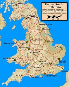 Roman cities and roads in ancient Britain.