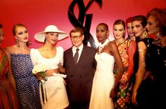 Yves Saint Laurent with Brandi Quinones and models at the Miro Exhibition at the Pompidou Center Museum in Paris in January 2000. #YSL