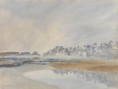 A minimalist watercolour by Archibald Knox (1864-1933) of the backs of houses viewed from Castletown shore and looking towards Knockrushen. Knox's watercolour sketches can be seen as exercises in capturing the light and a single moment in time. The artist is said to have painted his watercolour scenes in a few hours or less, but that he would also sit for hours waiting for the exact light and cloud formations that he wanted to paint.