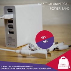 Get the #Naztech universal charger to stay connected on-the-go at flat 15% OFF at http://beyonder.co/travel-accessories/naztech-universal-power-bank-pb10400    #DubaiShoppingFestivalAtBeyonder