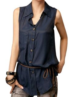 Stylish Fashion Turn-down Collar Sleeveless Shaping Pure Color Blouse With Belt on buytrends.com