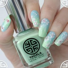 "Spring nail with YaGala nail polishes ""Mint Candle"", ""Tropical Sky"", ""Pure White"", ""Set&Go!"" Shop for yagala nail polishes a"