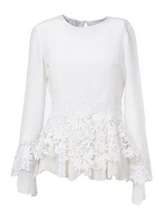 embroidered lace hem blouse
