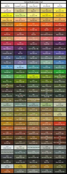 Vallejo Model Color Paint Charts