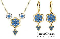 Elegant Jewelry Set: Necklace and Earrings by Lucia Costin with Twisted Lines and Blue Swarovski Crystals, Enriched with Sterling Silver 6 Petal Flowers and Fancy Charms; 14K Yellow Gold over .925 Sterling Silver Lucia Costin. $128.00. Lucia Costin jewelry set. Enriched with deep blue Swarovski crystals. Mesmerizing enough to wear on special occasions, but durable enough to be worn daily. Unique jewelry handmade in USA. A perfect feminine touch
