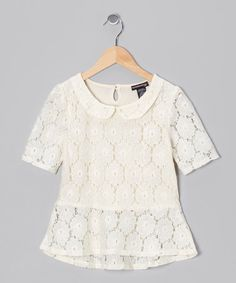 Take a look at this Cream Lace Blouse by Eyeshadow on #zulily today!