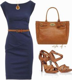 Work Outfits   Navy DVF Dress Diane von furstenberg dress, RALPH LAUREN sandals, Bayswater bag, Stud Belt by styleofe