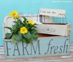 Farm fresh planter, stenciled serving tray, and an updated sewing machine drawer. Makovers from MySalvagedTreasures.com