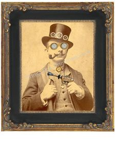 8x10 Art Print  Altered Art Victorian Steampunk Man by fringepop, $10.00