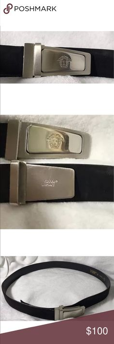 """Gianni Versace black leather belt medusa buckle Authentic GIANNI VERSACE Adjustable up to 38"""" 1"""" wide Buckle is like a seatbelt clip Made in Italy 100% authentic Excllent pre-owned condition From one of my fabulous consignment clients Clean, non-smoking home. Not from thrift or garage sale. Versace Accessories Belts"""