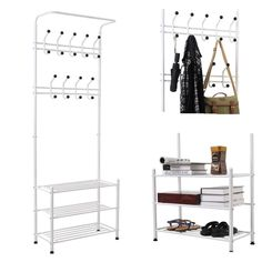 HOMFA Heavy Duty Hat Clothes Bags Coat Rack Rail Organiser Shoes Shelf Stand with 20 Hanging Hooks (190 x 34 x 68.5cm, Champagne): Amazon.co.uk: Kitchen & Home