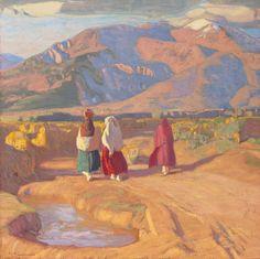 Ernest Leonard Blumenschein (American, 1874-1960). Taos Valley Reflections. Oil on canvas. 26 x 26 inches