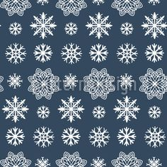 Trendy Snowflakes Seamless Vector Pattern by Marina Zakharova at patterndesigns.com Vector Pattern, Pattern Design, Paper Cup Design, Surface Design, Snowflakes, Patterns, Winter, Block Prints, Winter Time