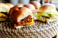 Grilled Chicken Bacon Sliders {Pioneer Woman}.. made different ways..all grilled, some use pepperjack, provolone, bbq sauce, hot sauce, etc.. these look so good!! and I'm not a chicken sammie kind of girl.