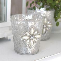 2tlg. Set Teelichthalter FLEUR mit Ornament WEISS