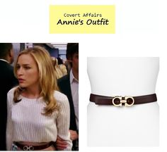 "On the blog: Annie Walker's (Piper Perabo) logo waist belt | Covert Affairs - ""Vamos"" (Ep. 401) #tvfashion #fashion #tvstyle #accessories"