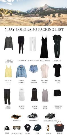 Too Polished A Five Day Colorado Summer Packing List Source by FantasyCookie vacation outfits Chile Colorado, Denver Colorado, Colorado Springs, Estes Park Colorado, Durango Colorado, Road Trip To Colorado, Colorado Hiking, Weekend Trip Packing, Summer Vacation Packing