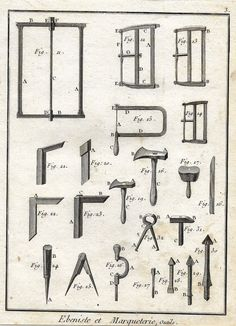 """Diderot's Encyclopdie - """"CABINETRY MARQUETRY TOOLS - Plate 3"""" 1751"""