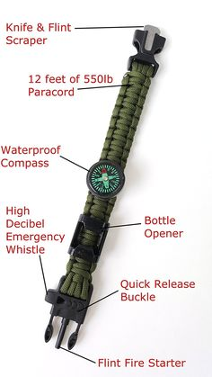 Off-Grid Gear - Survival Paracord Bracelet with Updated Waterproof Compass, Knife/Scraper tool, Flint & Bottle Opener - Super Strong Paracord - 4 Color Choices SUPER STRONG: 12 feet of 550 pound test (Bottle Bag Life) Camping And Hiking, Hiking Tips, Camping Survival, Hiking Gear, Outdoor Survival, Hiking Backpack, Survival Gear, Camping Gear, Outdoor Gear