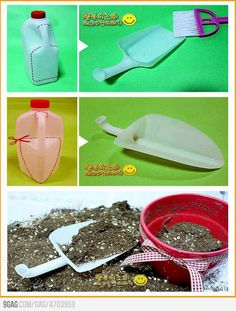 Milk Jug Recycling projects:  Trowel, dustpan and feed scoop